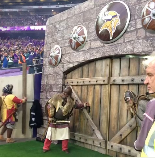 Vikings make a grand entrance through the castle portals
