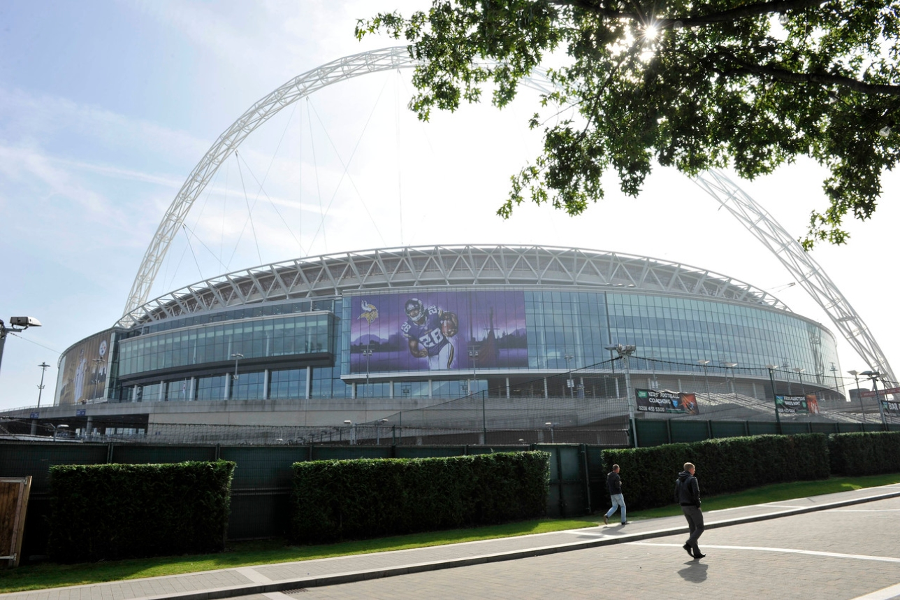 Wembley stadium with Peterson's picture on the side
