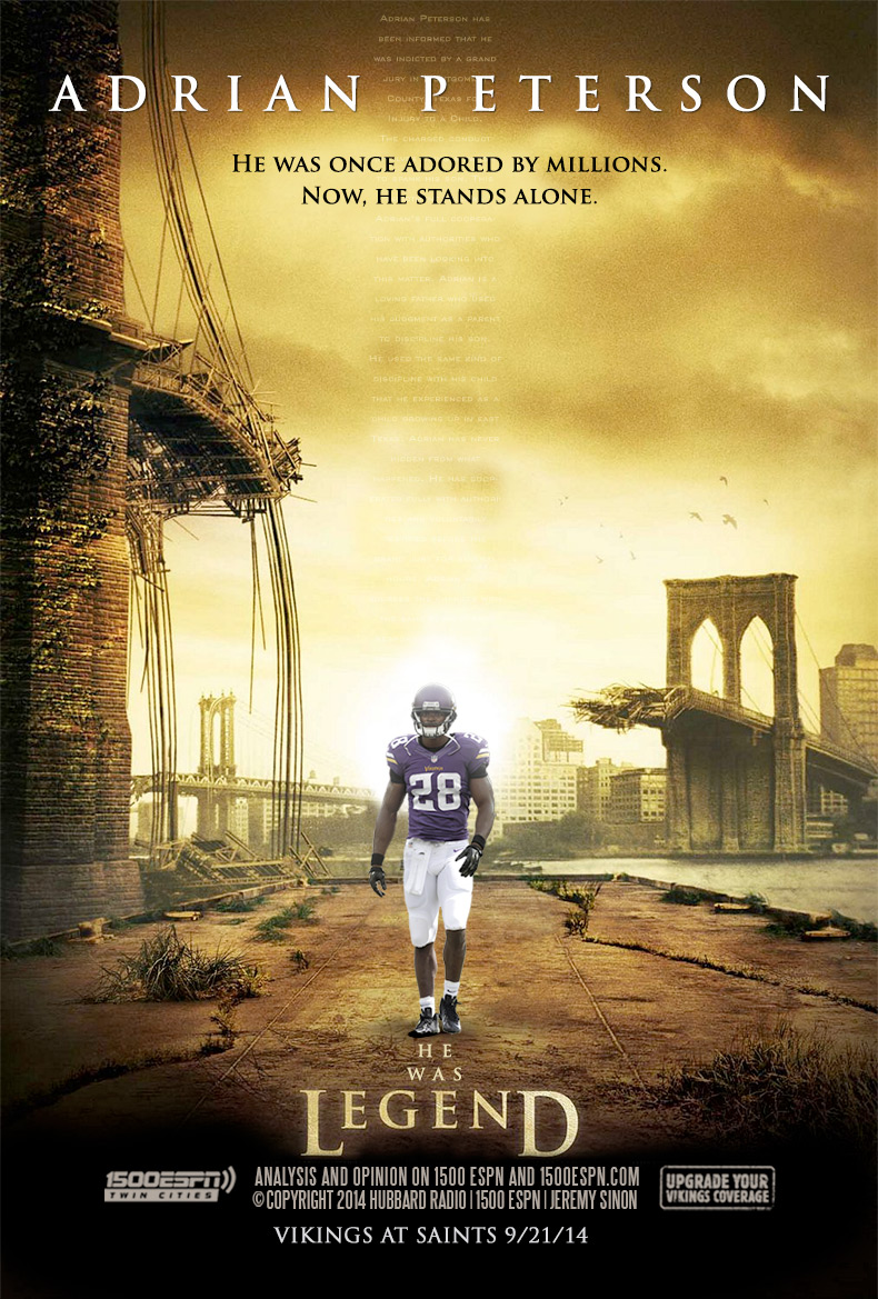 Adrian Peterson:  He was once adored by millions.  Now he stands alone.